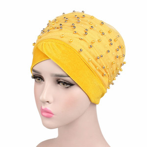 Image 2 - New Luxury Women scarf Hijab Hats Velvet Gold Beaded Decorate Long Head Scarf Headscarf Turban Caps Indian Caps Wrap Cap