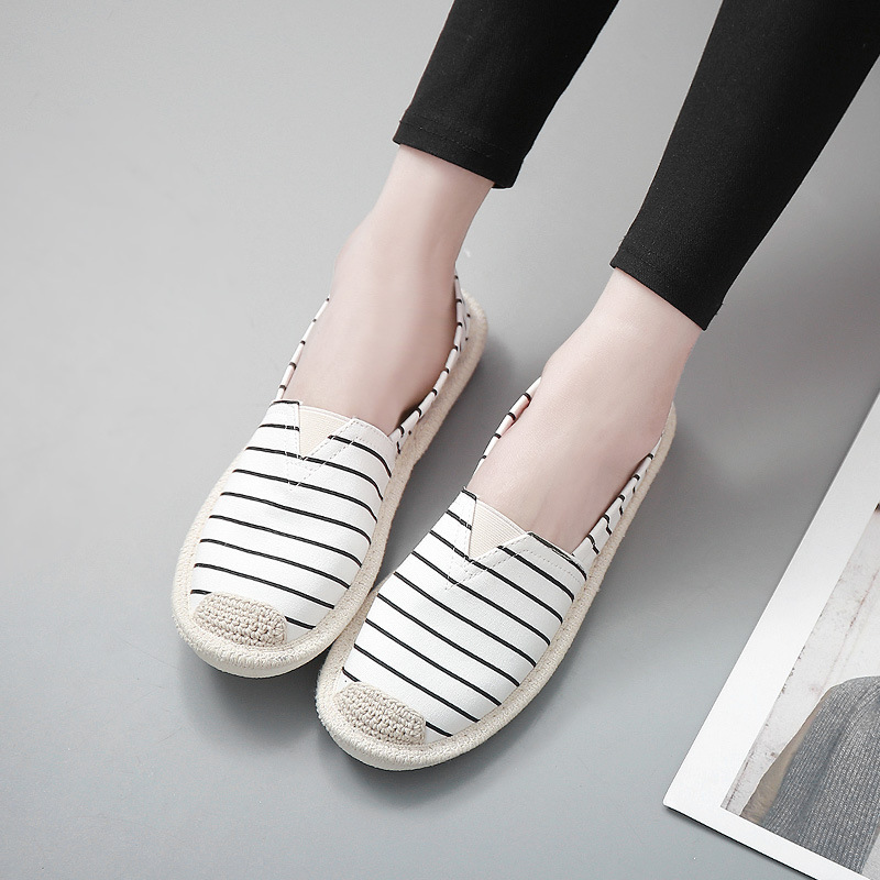 Stripe Flat Shoe Women Casual Fisherman Shoes 2018 Summer Ladies Slip On Lightweight Breathable Loafers Lazy Flats Zapatos Mujer