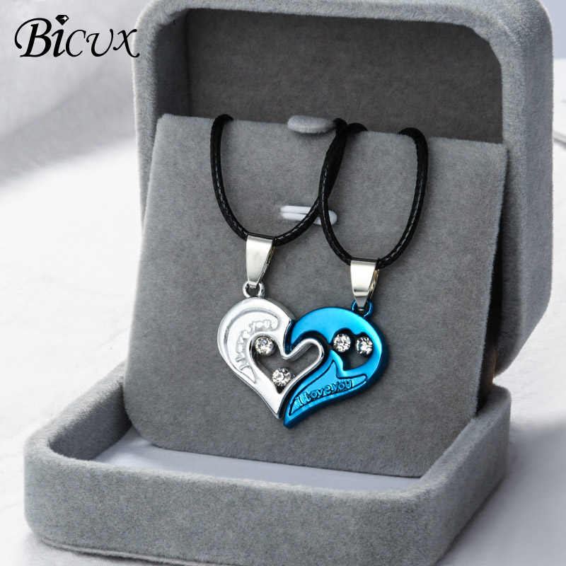 BICUX Valentine's Day Heart Couple Pair Pendant Necklaces for Women Fashion Cute Romantic Crystal Rope Chain Necklace Jewelry