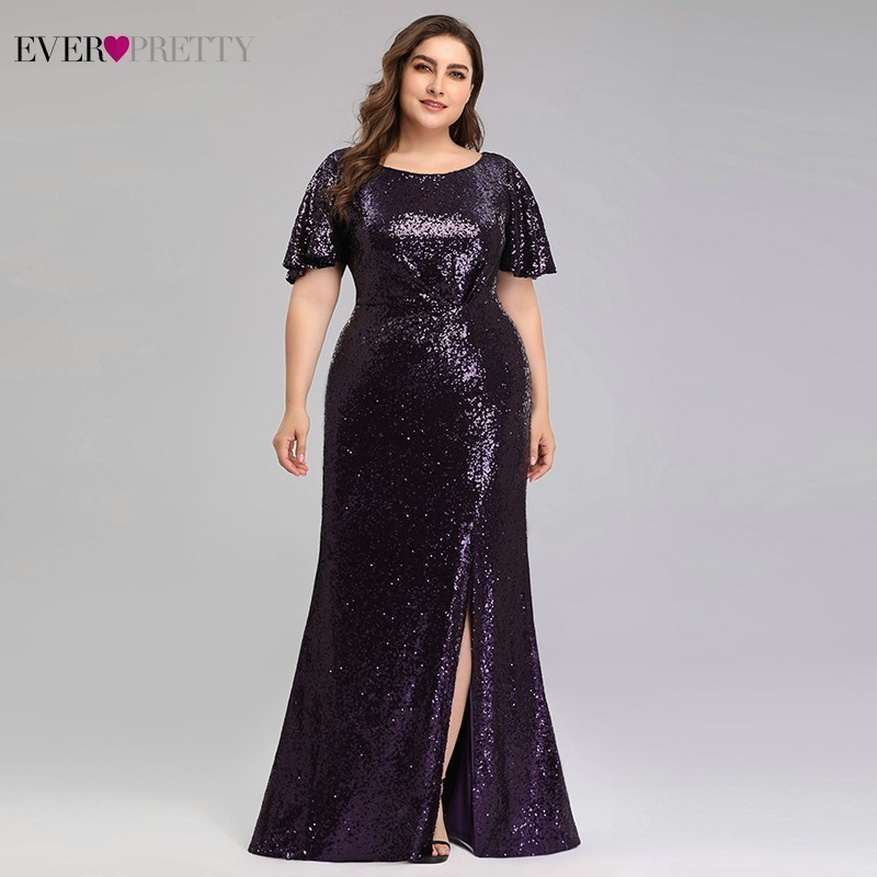 Plus Size Dark Purple Mermaid Prom Dresses Ever Pretty Sequined O-Neck Short Sleeve Sexy Party Dresses Vestidos De Gala 2020