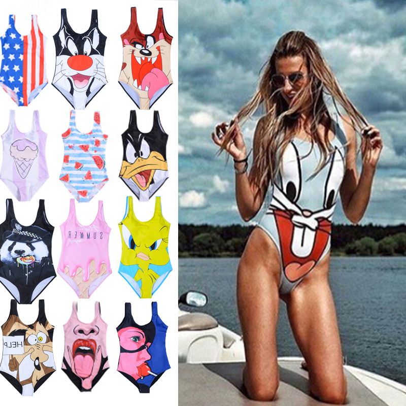 Thong Bikini Swimsuit 2019 One Piece Cartoon Swimsuit Woman Bathing Costume Women Swimwear High Waist Bathing Suit Plus Size