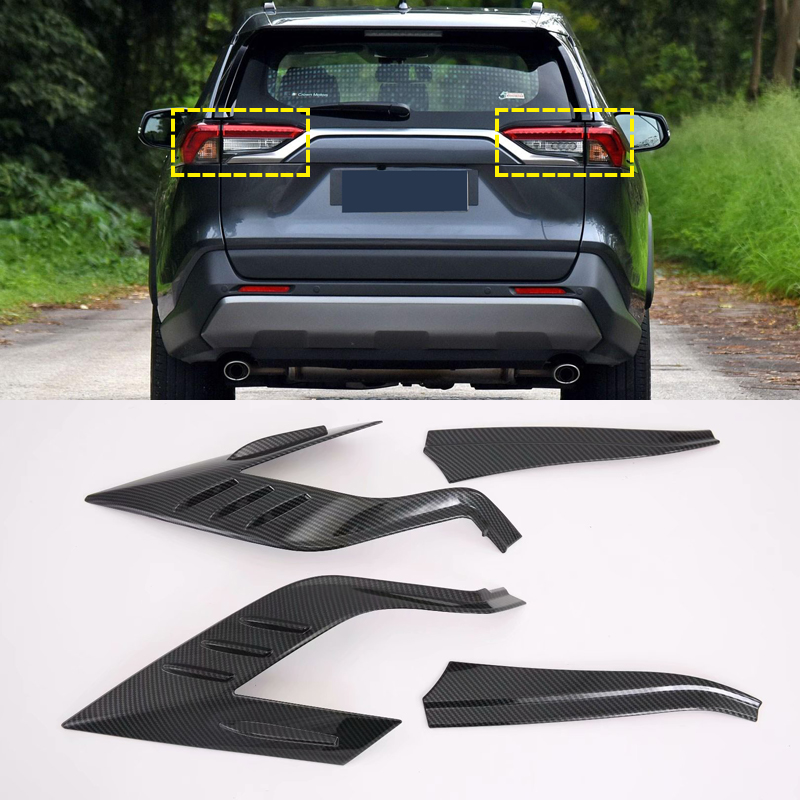 Auto Accessories ABS Raer Light Lamp Eyelind Decoration Cover Trim 2pcs for Toyota RAV4 2019 2020 Chromium Styling     - title=
