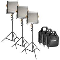 Neewer 3 Packs Dimmable Bi Color 480 LED Video Light and Stand Lighting Kit LED Panel (3200 5600K CRI 96+) with U mount