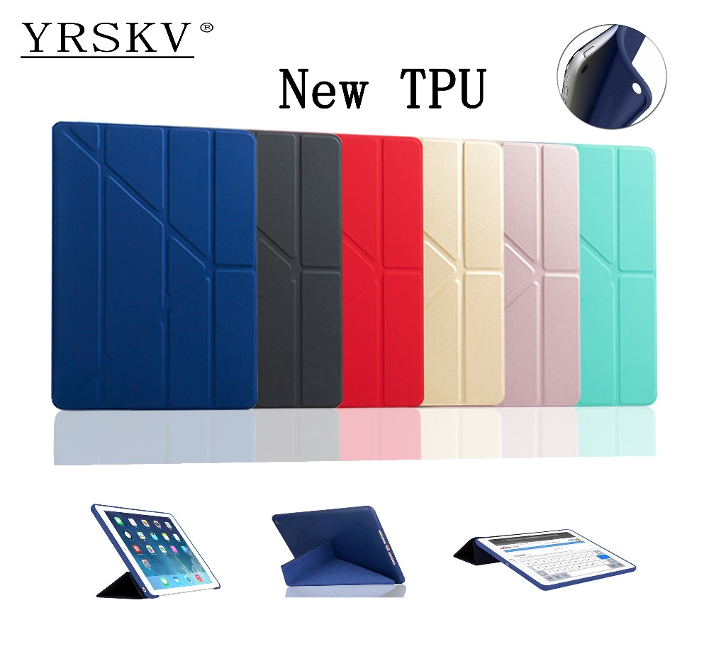 Case for iPad Air (2013) YRSKV deform PU leather cover+TPU silicone shell Stand Smart sleep Awakening Cover Case For Apple iPad nice soft silicone back magnetic smart pu leather case for apple 2017 ipad air 1 cover new slim thin flip tpu protective case