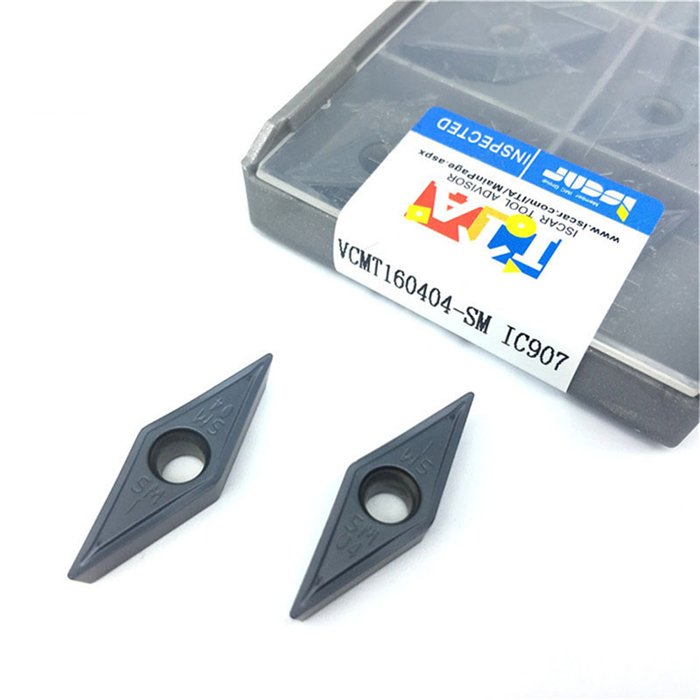 Tungsten Carbide VCMT160404 SM IC907 / 908 External Round Car Blade Carbide Insert Lathe Tool VCMT 160404 CVD+PVD Turning InsertTungsten Carbide VCMT160404 SM IC907 / 908 External Round Car Blade Carbide Insert Lathe Tool VCMT 160404 CVD+PVD Turning Insert