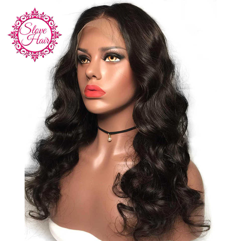 360 Lace Frontal Wig Remy Brazilian Body Wave Human Hair Wigs For Women Natural Black Pre Plucked With Baby Hair By Slove