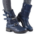 Azul novo Estilo Britânico Mulheres Sapatos Flats De Couro Grosso Outono Botas curtas Salto Baixo Mulheres Wearable Botas Martin Ankle Boots 34-40