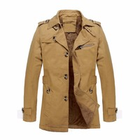Vintage Jacket Men's Winter Warm Velvet Trench Coat Men Casual Military Single Breasted Lapel Pockets Outwear Slim Fit Plus Size
