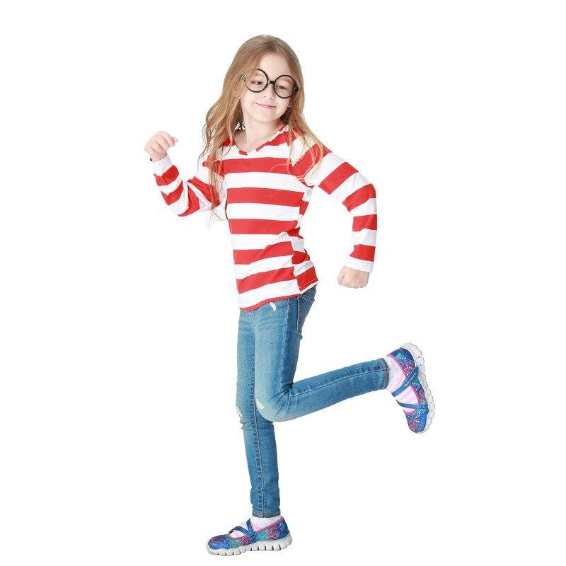 Детская одежда производительность дети Уолли COS служить красный векселя зерна Футболки костюм Международный день защиты детей show служить