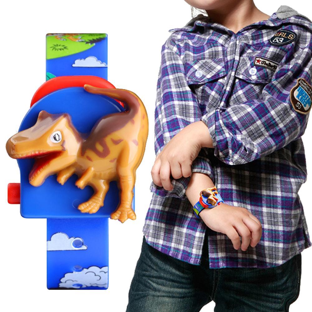 Children's Digital Watch Cute Cartoon Dinosaur Pop-up Detachable Printed Band Kids Digital Watch Toy Cartoon Digital Watch Gift