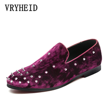 VRYHEID 2019 Spring and summer New Tricolor Men Rivets Shoes Fashion Party Prom Loafers Plus size Suede casual shoes 37~48
