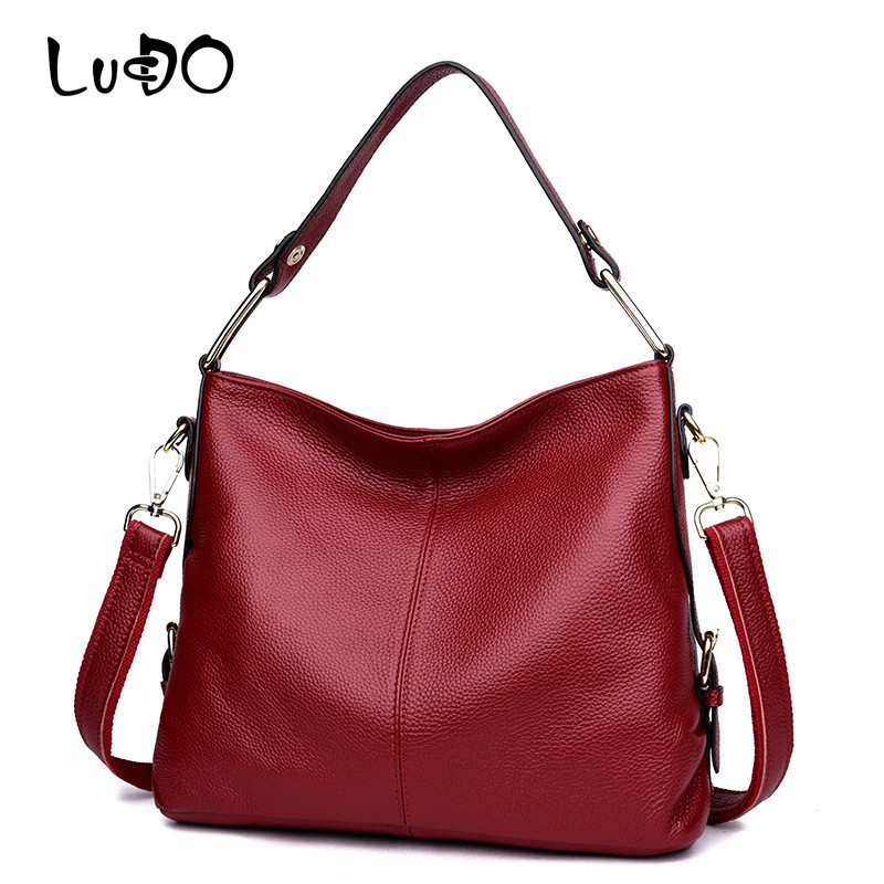LUCDO Women Cowhide Genuine Leather Shoulder Bags Luxury Famous Brand Handbag Female Totes Bag Soft Cow Leather Bag bolsos mujer genuine leather women bag 2018 summer handbag wrinkle skin female high quality cowhide shoulder crossbody bolsos mujer beach bag