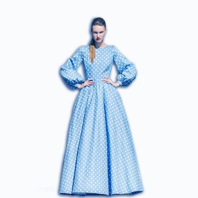 UITSTEKENDE KWALITEIT Nieuwe 2017 Rusland Maxi Jurk vrouwen Bladerdeeg Mouw Katoenen Dot Gedrukt Blauwe Lange Jurk