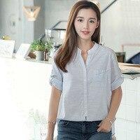 Short Sleeve Shirt Women Tops Striped Blouse Blusas Mujer De Moda 2017 Loose Women Blouses Shirts