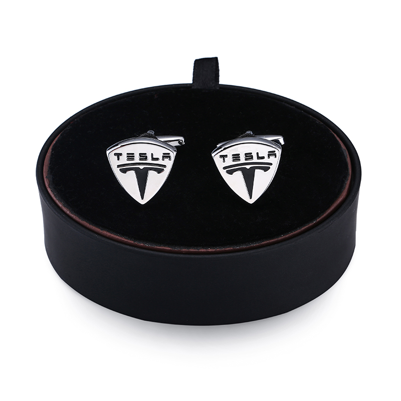 DY a set of high quality brass luxury Tesla car logo Cufflinks black leather box Mens French Cufflinks Gift Set FREE SHIPPING