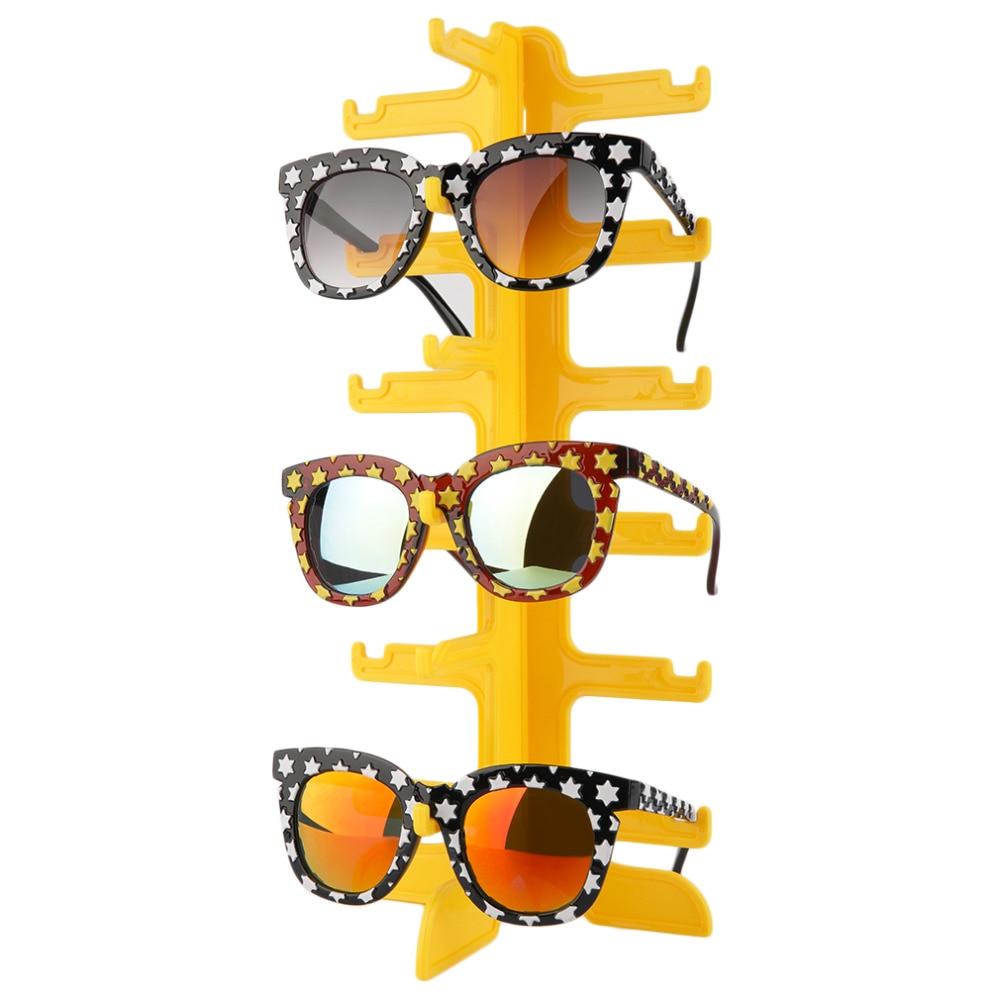 Fashion Sun Glasses Eyeglasses Plastic Frame Display Stands Shelf Eyewear Counter Show Stand Holder Rack 6 Layer 4 Colors