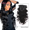 6A Grade Body Wave Clip In Hair Extensions Virgin Brazilian Human Hair 7Pcs/Set 16inch to 22inch In Stock Natural Black Color