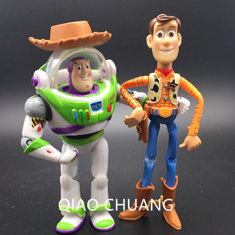 2Pcs Anime Toy Story Spaceman Buzz Lightyear The Cowboy Sheriff Woody Hats Can Be Taken Off PVC Action Figure Model Toy G5082Pcs Anime Toy Story Spaceman Buzz Lightyear The Cowboy Sheriff Woody Hats Can Be Taken Off PVC Action Figure Model Toy G508