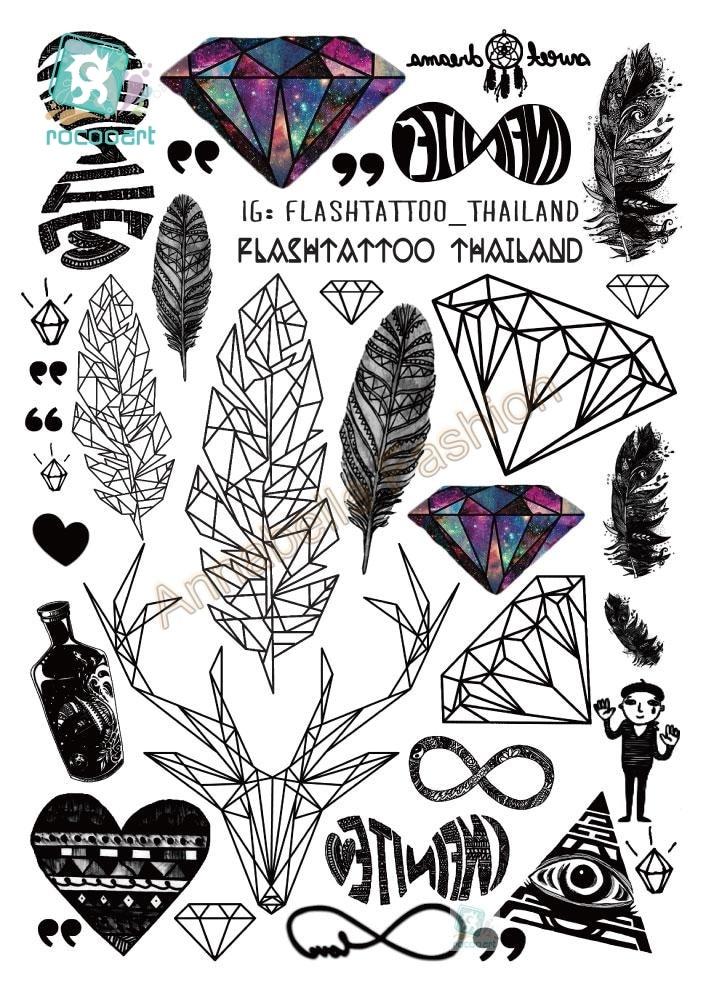 A6080-201 Große Schwarze tatuagem Taty Body Art Tattoo Aufkleber - Tattoo und Körperkunst