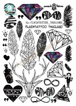 A6080-201 Grand Noir tatuagem Taty Body Art Temporary Tatouage Autocollants Plume Arc-En-Diamant Glitter Tatoo Autocollant