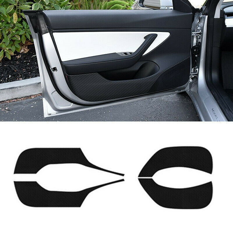 4pcs Carbon Fiber Sticker For Tesla Model 3 2018-2019 Side Door Anti-kick