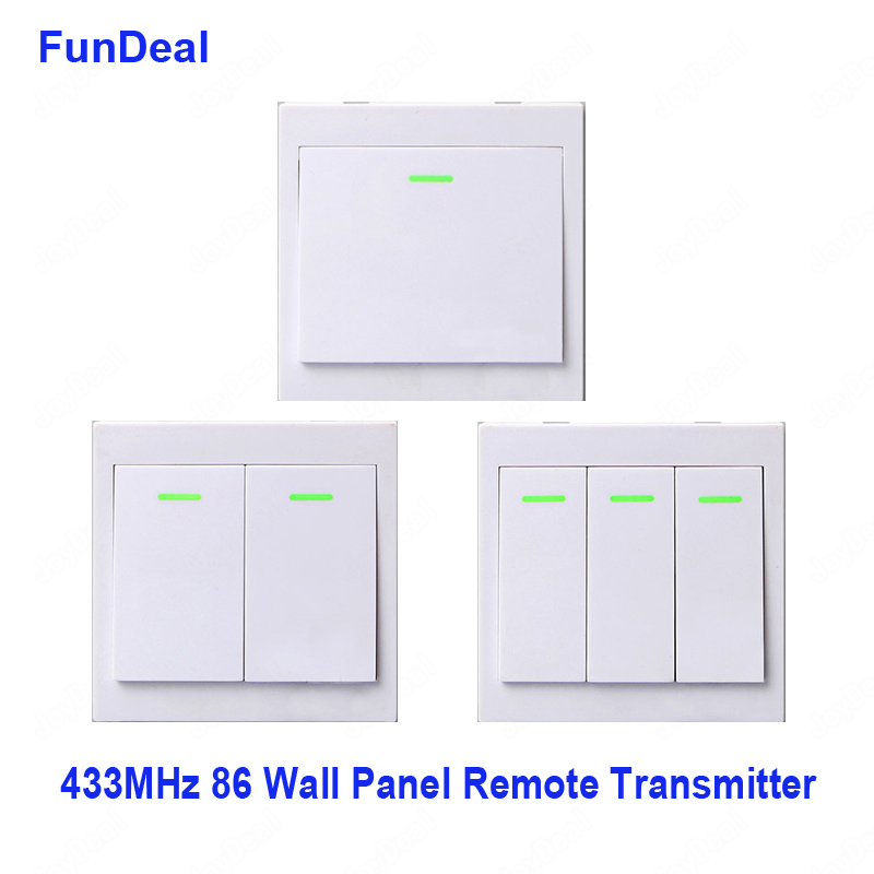 433MHz RF Wireless Remote Control 86 Wall Panel Transmitter 1  2 3 Button
