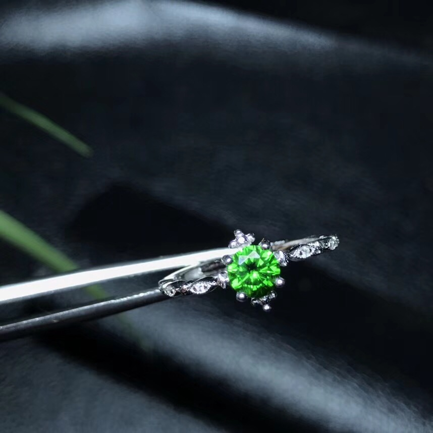 New store welfare natural diopside ring wholesale 925 silver Siberia emerald color positive