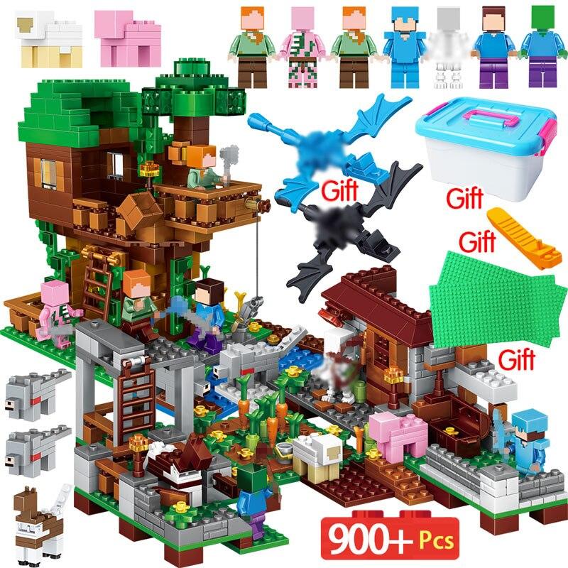 900 piezas en mi mundo bloques de construcción Legoingly Minecrafted Pueblo de la casa del árbol de la serie Kits cifras juguetes educativos para los niños
