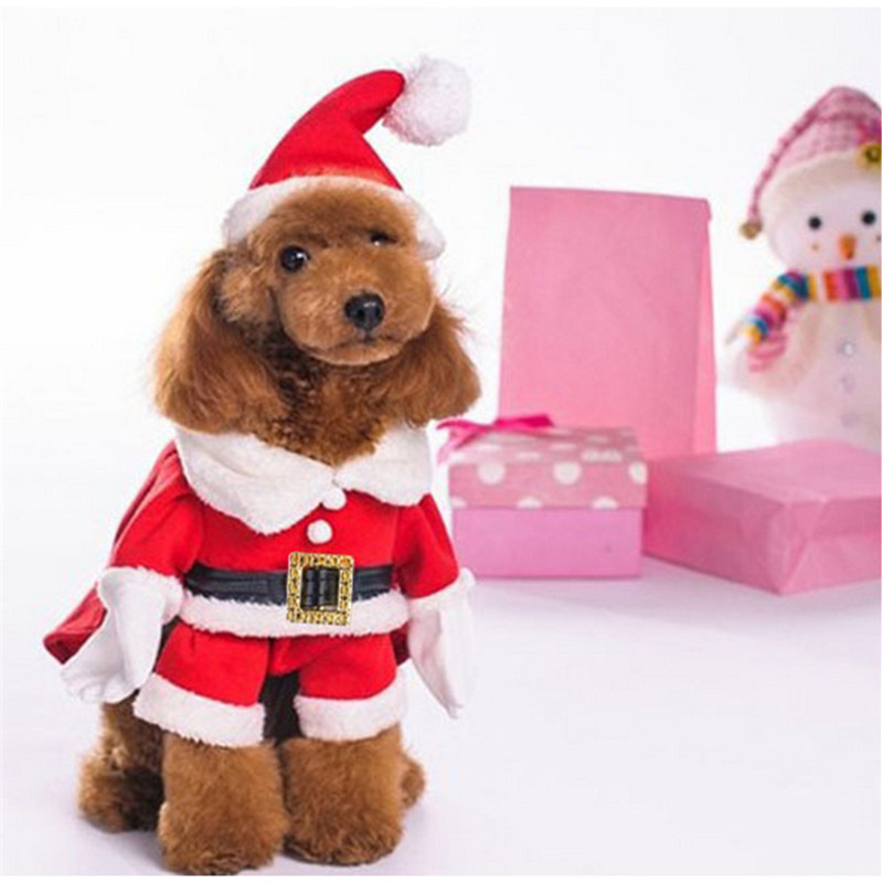 2016 1 Set Pet Clothes Christmas Santa Claus Dog Clothes Costume Dress Winter Apparel Cotton&fleece Pet Dog Coat