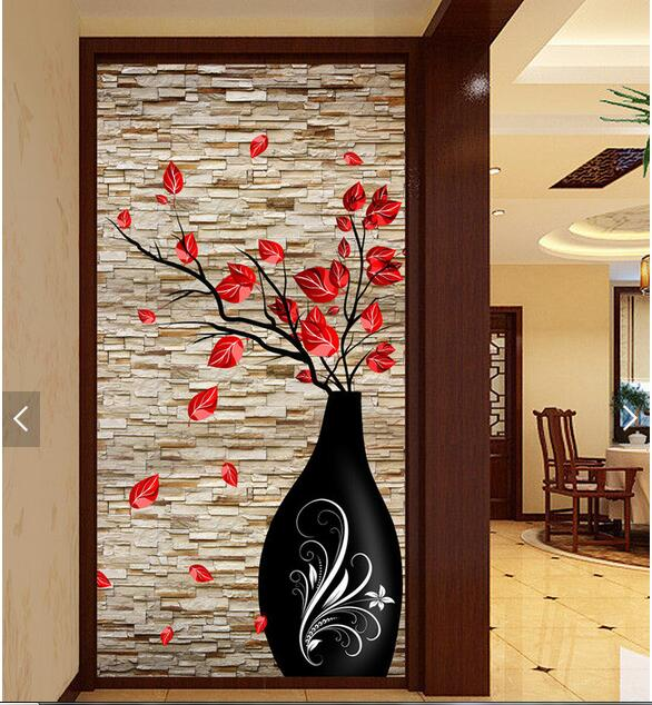 3d wallpaper custom photo non-woven picture 3 d Brick wall flower vase  porch painting 3d wall room murals wallpaper 100pcs pack photo frame photo wall hangs a picture clasps solid wall nail contact non trace nail hooks