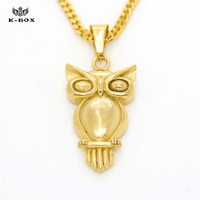 New Fashion Owl Charm Necklace Stainless Steel 18K Gold Plated Lucky Bird Animal Pendant 24 Cuban