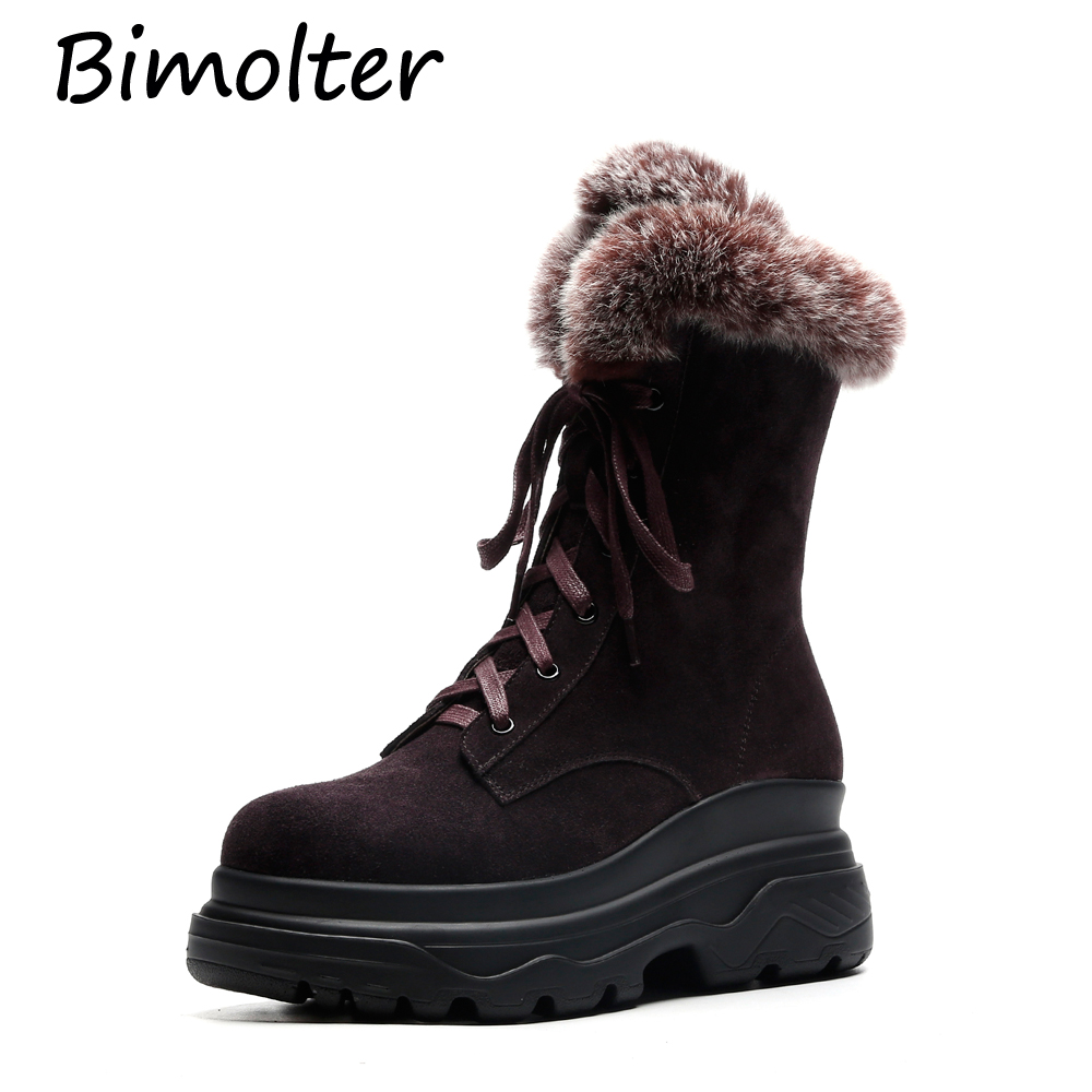 Bimolter Classic Cow Suede Women Snow Boots Ankle Warm Winter Fur Lace up Comfortable Platform Shoes NB004