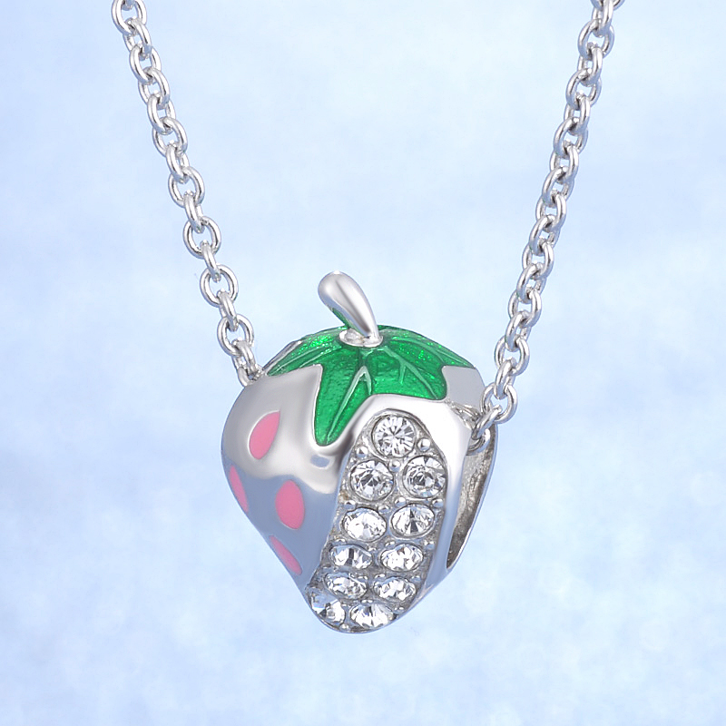 High Quality Popular DIY Fruit Charm Jewelry enamel design 925 Sterling Silver Lovely Strawberry Charm For Baby Girl in Charms from Jewelry Accessories