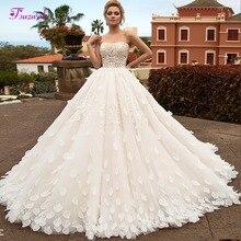 Eleganckie bez ramiączek aplikacje Lace Up line suknia ślubna 2019 romantyczny płatek sąd pociąg suknia ślubna typu princeska Vestido de Noiva