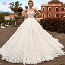 Elegant Strapless Appliques Ren Up A Line Wedding Dress 2019 Lãng Mạn Cánh Hoa Tòa Train Công Chúa Bridal Gown Vestido de Noiva