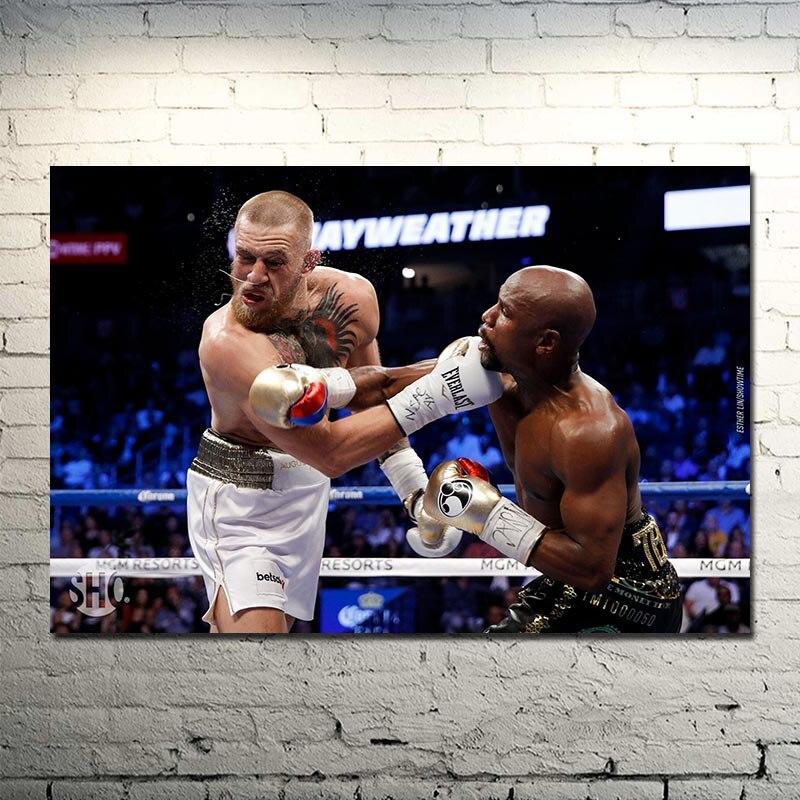 Floyd Mayweather vs Conor McGregor MMA UFC Lutte Boxe Art Soie Toile Affiche 13x20 24x36 pouces