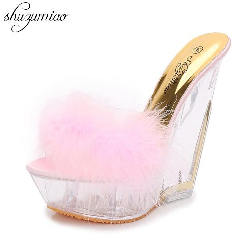 Slippers Sandals Women Shoes Ultra-high Heels 15CM Thin Heels Wedding Banquet Goddess Platforms Thick Bottom Shoes Model Catwalk 15 cm thick bottom ultra high with waterproof taiwan bride shoes catwalk shows performance party fashion women s shoes