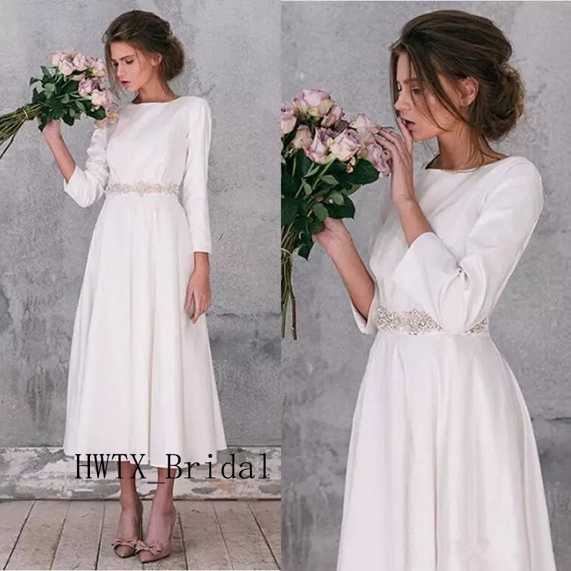 Elegant Long Sleeve Tea Length Wedding Dresses Simple: Cheap Tea Length Wedding Dress Elegant Satin A Line Long