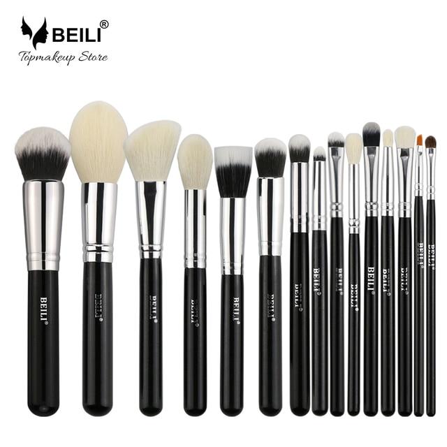 BEILI Black Natural Goat hair Big Powder Foundation blusher eye shadow Contour 15pcs Makeup brush set Make up tools