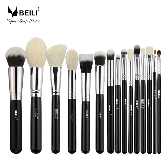 BEILI negro pelo de cabra Natural base de polvo grande colorete sombra de ojos contorno 15 piezas Juego de brochas de maquillaje herramientas de maquillaje