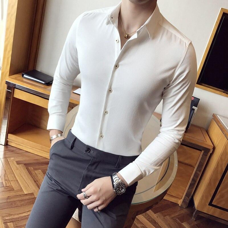 2018 Frühling Männer Business-hemd Top Qualität Solide Bluse Slim Fit Langarm Formal Wear Kleid Shirts Männer Freizeithemd Mann 4xl-m