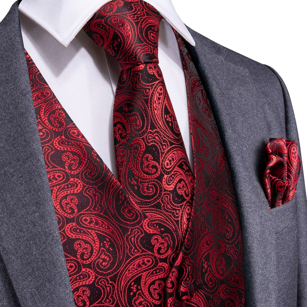 Waistcoat Vest Suit Tuxedo Paisley Wedding Black Ties Red Fashion for Cufflinks Cravat-Set