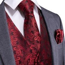 DiBanGu, красный, черный, Пейсли, модный Свадебный Мужской шелковый жилет, галстук, запонки, набор галстуков для костюма, смокинг, MJTZ-106