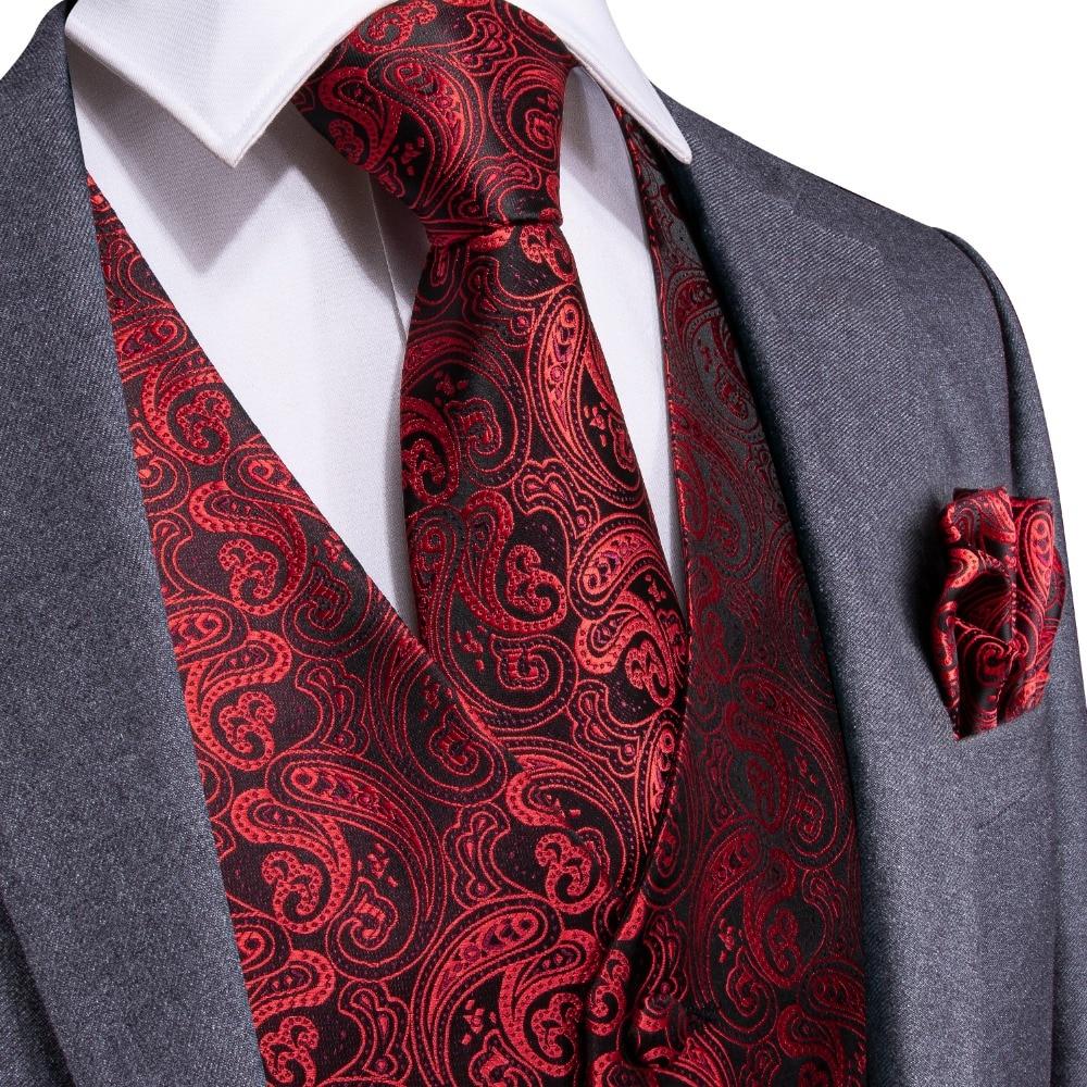 DiBanGu Red Black Paisley Fashion Wedding Men 100%Silk Waistcoat Vest Ties Hanky Cufflinks Cravat Set For Suit Tuxedo MJTZ-106