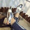 Brogue Sapatos de Prata Branco das mulheres Oco Out Lace Up Scarpe Donne 2017 Sapatas Das Senhoras do Verão Zapatos Mujer Blancos