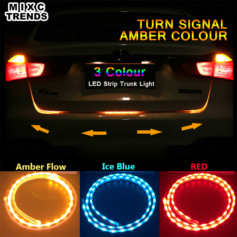 цена MIXC TRENDS Amber Flow Red Blue Led trunk strip Undercarriage Floating light Turn Signal tailgate led flexible drl car styling онлайн в 2017 году