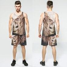 2019 Men Brand 3D Animal Lion Print Tracksuit Summer 2PC Sleeveless Tank Top Short Set Mens Fashion 2 Pieces Vest Shorts set