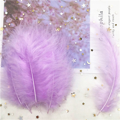 Natural Turkey Feathers Plumes 4-6 Inches10-15cm Multicolor Chicken Marabou Feather DIY Craft Wedding Jewelry Decoration 50pcs - Цвет: light purple 50p
