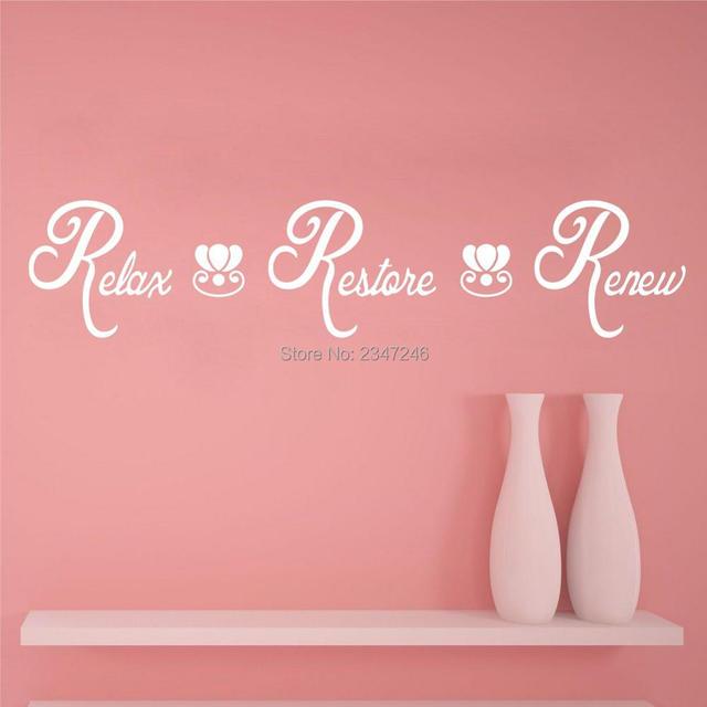 english words wall decals relax restore renew spa bathroom vinyl wall stickers lettering washroom decor