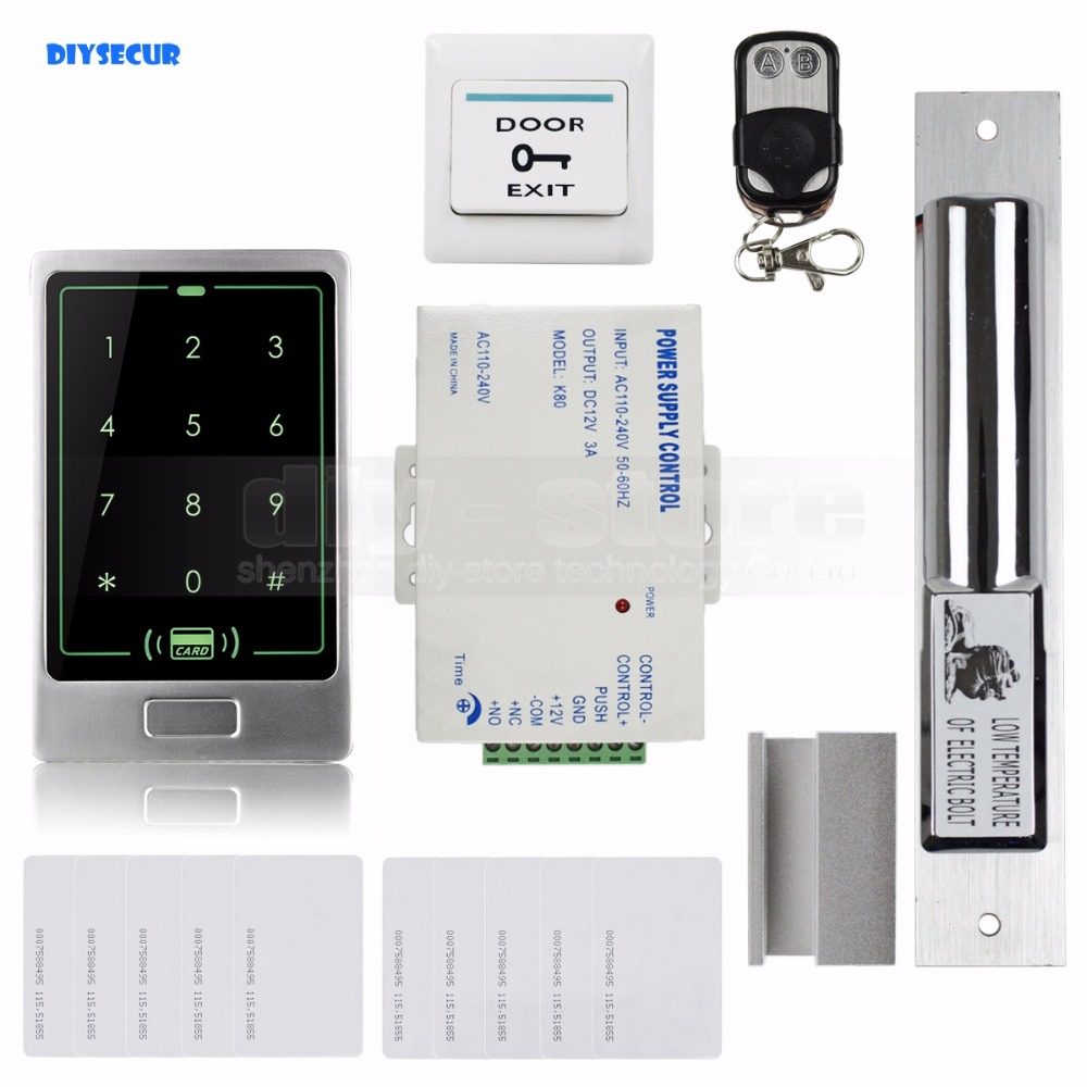 DIYSECUR 8000User Electric Bolt Lock RFID Touch Reader Password Keypad Door Access Control Security System Kit C20 diysecur metal case touch button 125khz rfid card reader door access controller system password keypad c20